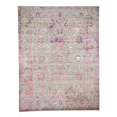 Pink,Beige Wool And Silk Broken Persian Flower Design Hand-Knotted Oriental Rug