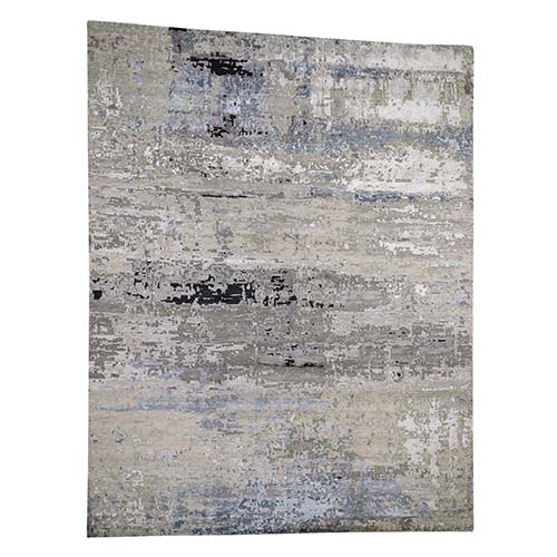Hand-Knotted Gray Abstract Design Wool and Silk Hand-Knotted Oriental Rug