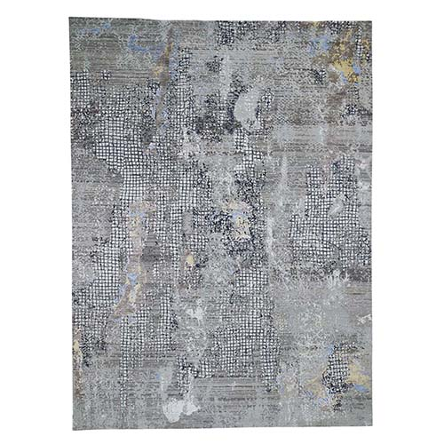 Gray Modern Mosaic Broken Design Wool and Silk Hand-Knotted Oriental Rug
