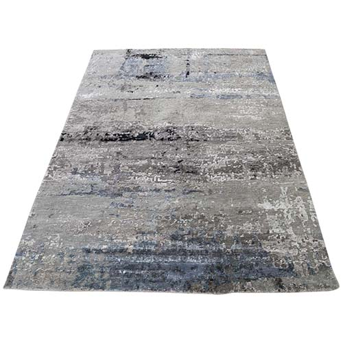 Hi-Low Pile Abstract Design Gray Wool And Silk Hand-Knotted Oriental Rug
