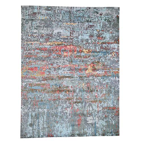 Gray Hi-Low Pile Abstract Design Wool And Silk Hand-Knotted Oriental