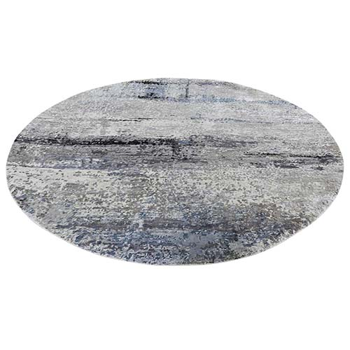 Gray Hi low Pile Abstract Design Round Wool And Silk Hand-Knotted Oriental