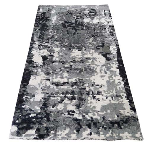 Hi-Low Pile Abstract Design Wool And Silk Runner Hand-Knotted Oriental Rug