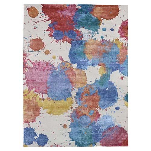 Modern Wool & Silk Splash Design Thick And Plush Hand-Knotted Oriental Rug