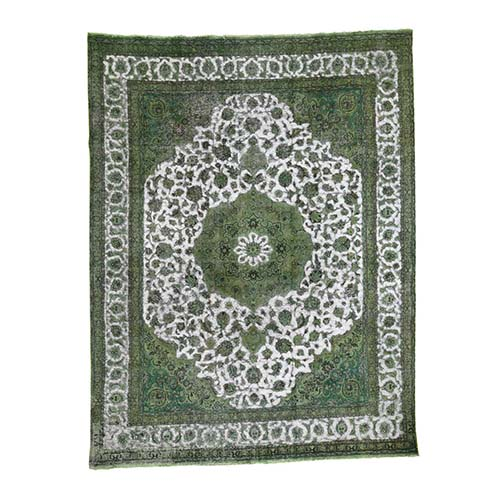 Light Green Overdyed Persian Tabriz Hi-low Vintage Hand-Knotted Oriental
