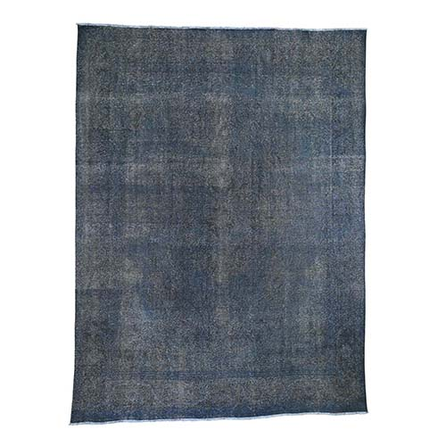 Grey Overdyed Tabriz Sheared Low Hand Knotted Oriental