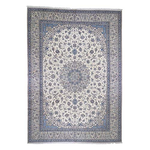 Oversized New Persian Nain 400 KPSI With Birds Design Pure Wool Hand-knotted Oriental