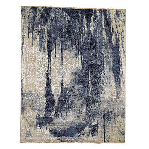 Wool And Silk Shibori Design Tone On Tone Hand-Knotted Oriental Rug