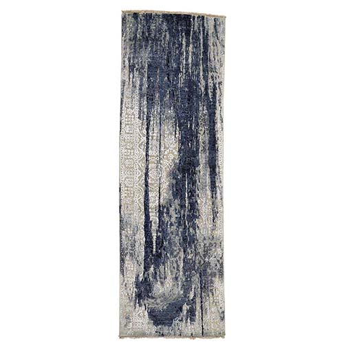 Wool And Silk Shibori Design Wide Runner Tone On Tone Hand-Knotted Oriental Rug