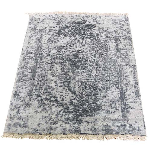 Silver Broken Persian Erased Design Wool and Pure Silk Hand-Knotted Oriental Rug