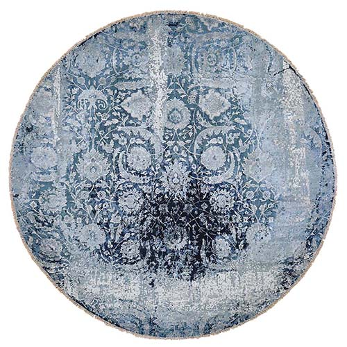 Round Wool And Silk Broken Persian Tabriz Erased Design Hand-Knotted Oriental