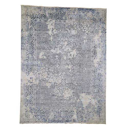 Broken Persian Design Wool With Pure Silk Hand-Knotted Oriental Rug