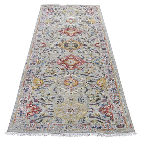 THE SUNSET ROSETTES Pure Silk and Wool Runner Hand-Knotted Oriental Rug