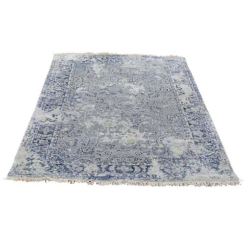 Broken Persian Erased Design With Pure Silk Hand-Knotted Oriental Rug