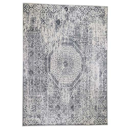 Ivory Hand-Loomed With Mamluk Design Oriental Rug