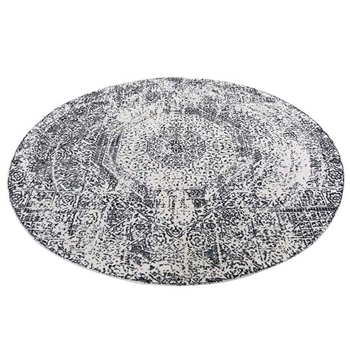 Round Ivory Hand-Loomed With Mamluk Design Oriental Rug