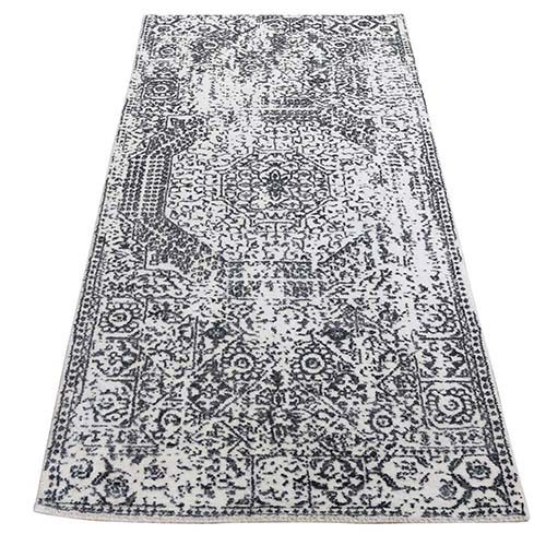 Ivory Hand-Loomed With Mamluk Design Runner Oriental Rug