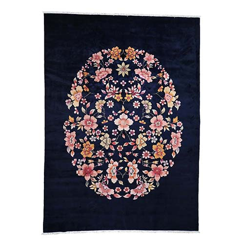 On Clearance Chinese Art Deco Hand-Knotted Navy Blue Oriental