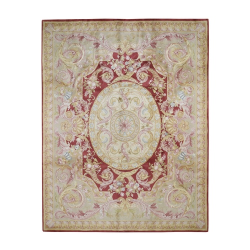Hand-Knotted Thick And Plush Savonnerie Napoleon III Design Oriental