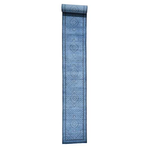 Blue Wool and Silk Tabriz Mahi Hand-Knotted Oriental XL Runner