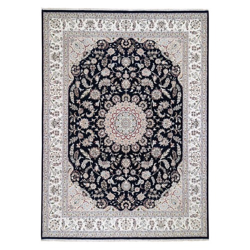 Navy Blue Nain Wool and Silk 300 Kpsi Hand-Knotted Oriental Rug
