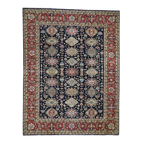 Black Karajeh Design Pure Wool Hand-Knotted Oriental