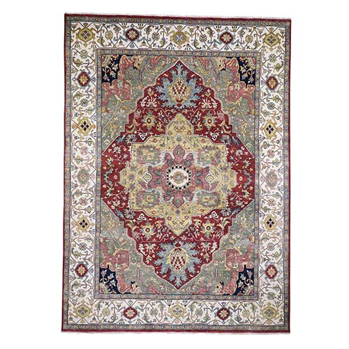 Red Heriz Revival Pure Wool Hand-Knotted Oriental Rug