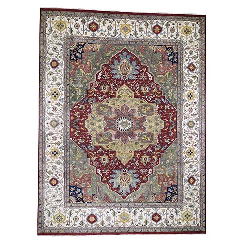 Oversized Green Heriz Revival Pure Wool Hand-Knotted Oriental Rug