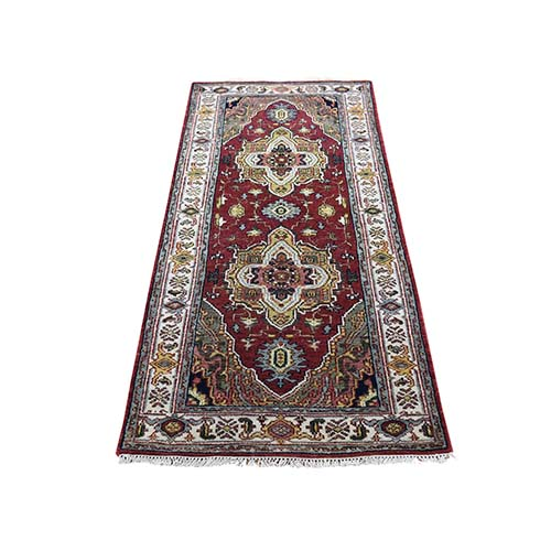 Red Heriz Revival Pure Wool Hand-Knotted Oriental Runner Rug
