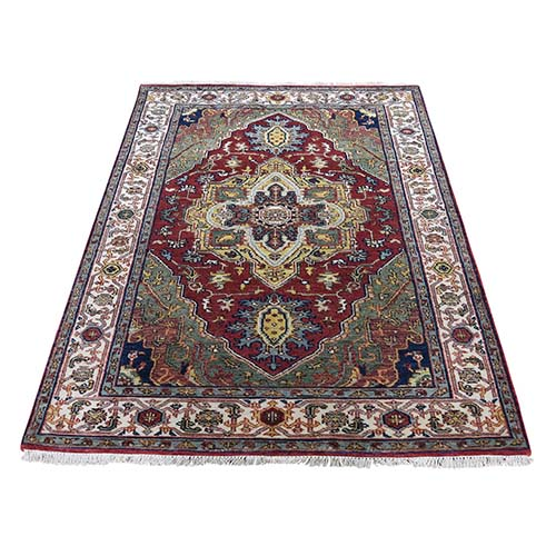 Green Heriz Revival Pure Wool Hand-Knotted Oriental Rug