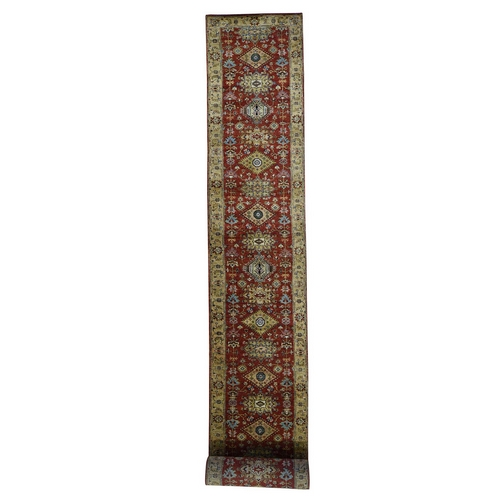 Red Pure Wool Karajeh Hand Knotted XL Runner Oriental Rug