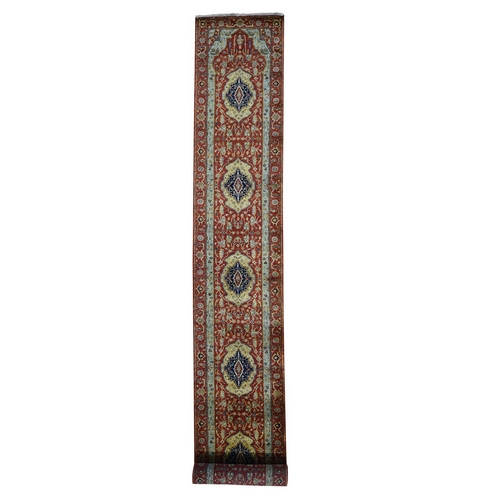 Red Antiqued Heriz Pure Wool Hand Knotted XL Runner Oriental