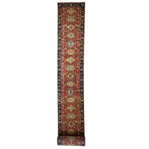 Red Karajeh Design Runner Pure Wool Hand-Knotted Oriental