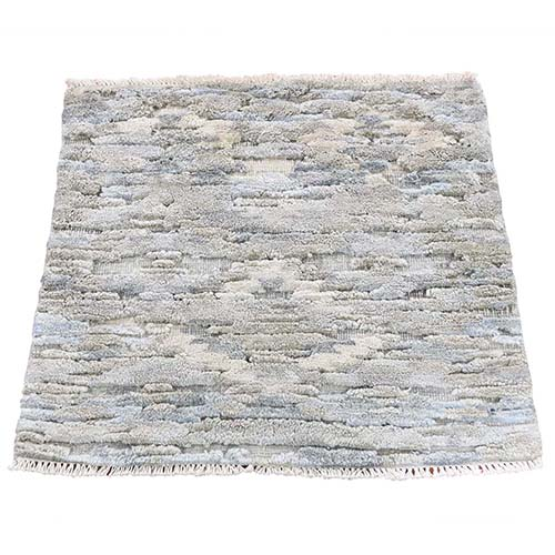 Sampler Hi-Low Pile With Natural Colors Wool And Pure Silk Hand-Knotted Oriental