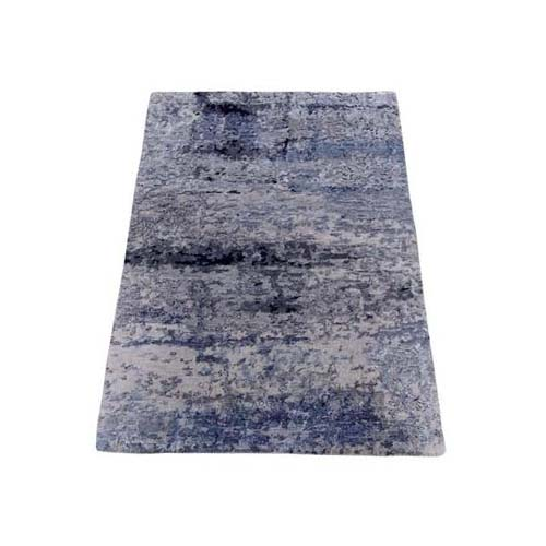 Hand-Knotted Gray Abstract Design Wool and Silk Hi-Low Pile Oriental Rug