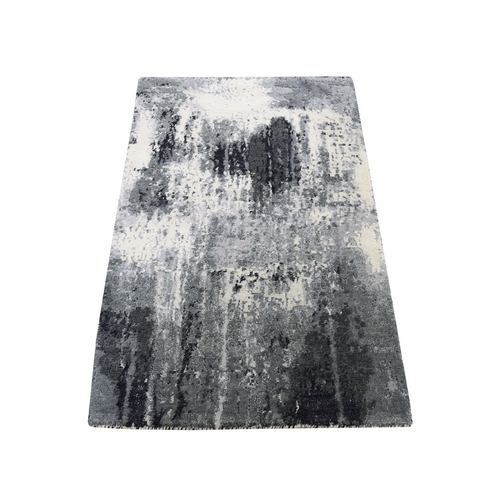 Gray Abstract Design Wool and Silk Hand-Knotted Oriental Rug Sample