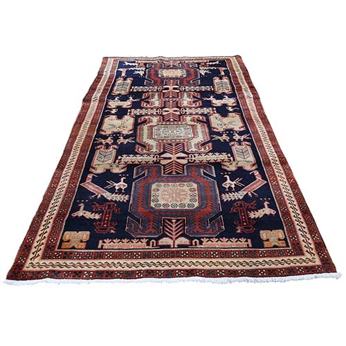 Vintage North West Persian With Peacocks Wide Runner Hand-Knotted Oriental