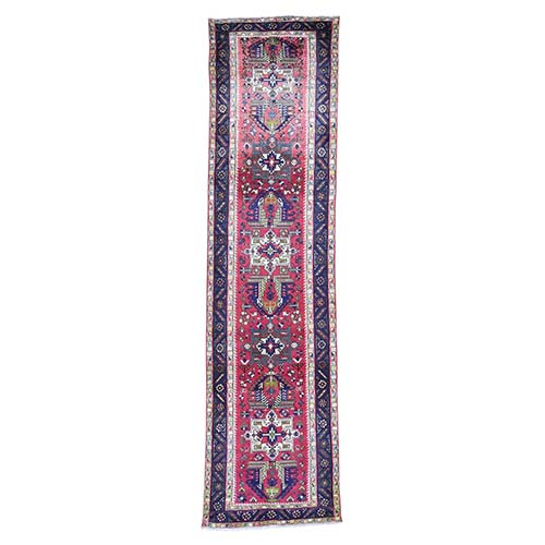 Vintage Tabriz With Karajeh Design Pure Wool Wide Runner Hand-Knotted Oriental Rug