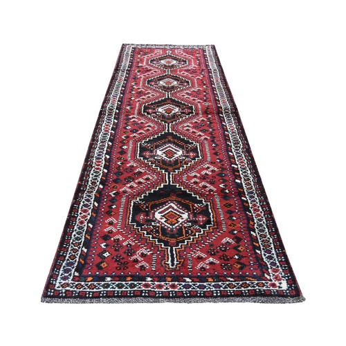 Red New persian Shiraz Pure Wool Narrow Runner Hand-Knotted Oriental