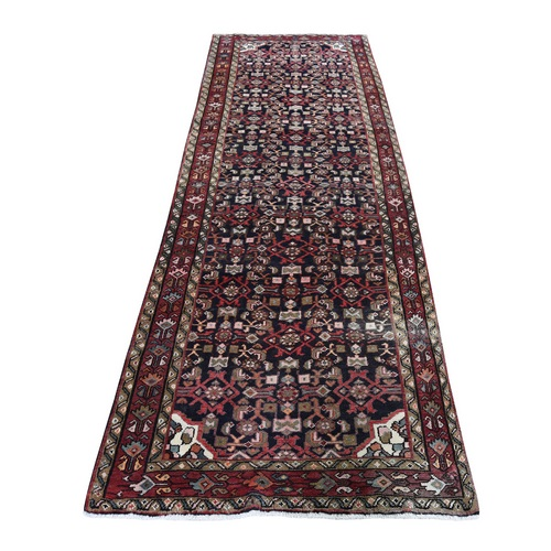 Vintage Persian Hamadan With Fish Design Pure Wool Hand-knotted Runner Oriental