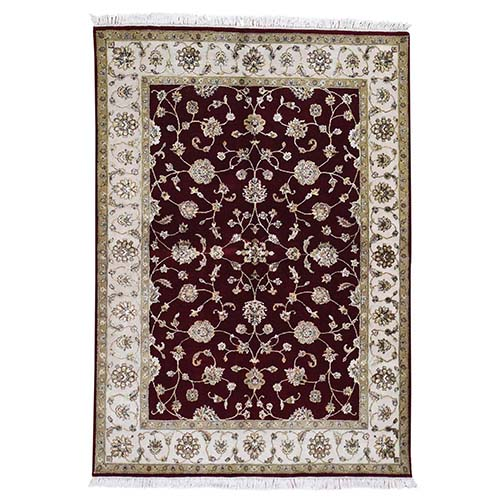 Hand-Knotted Half Wool And Half Silk Rajasthan Oriental Rug