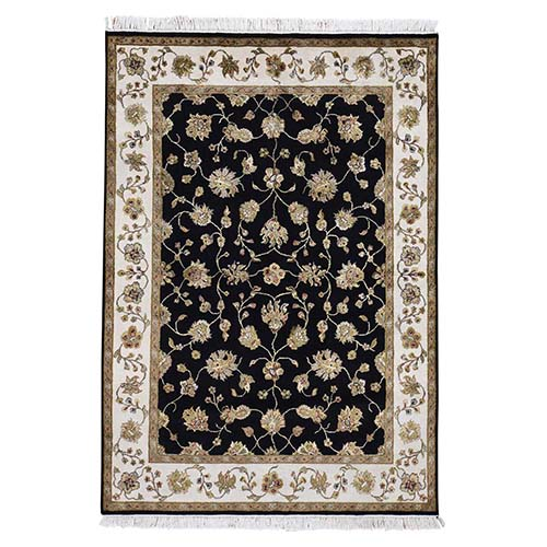 Black Half Wool And Half Silk Rajasthan Hand-Knotted Oriental