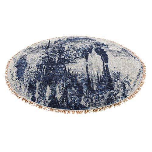 Round Wool And Silk Shibori Design Tone On Tone Hand-Knotted Oriental Rug