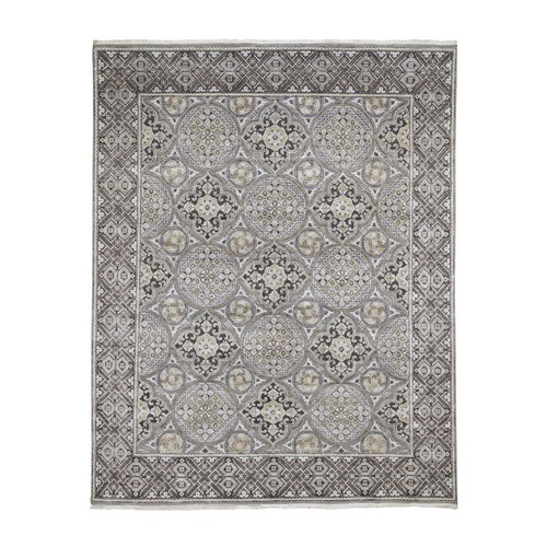 Textured Wool and Silk Mughal Inspired Medallions Hand-Knotted Oriental Rug