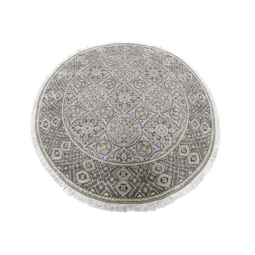 Textured Wool and Silk Mughal Inspired Medallions Round Hand-Knotted Oriental Rug