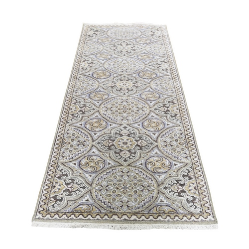 Textured Wool And Silk Mughal Inspired Medallions Runner Oriental Rug