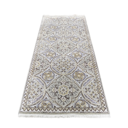 Textured Wool And Silk Mughal Inspired Medallions Runner Hand-Knotted Oriental Rug