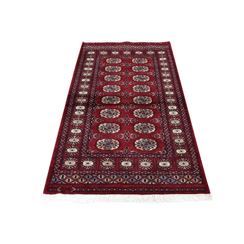 Red Bokara Elephant Feet Design Pure Wool Hand-Knotted Oriental Rug