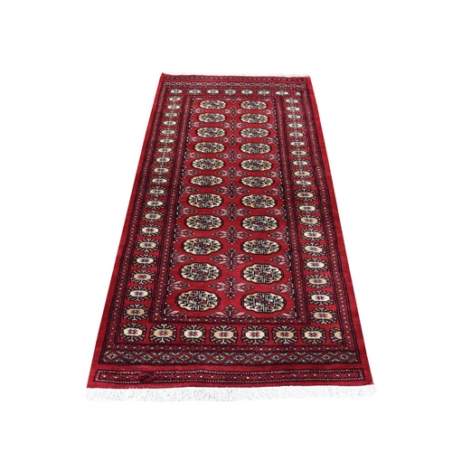 Red Bokara Elephant Feet Design Pure Wool Hand-Knotted Signed Oriental Runner Rug