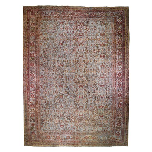 Mansion Size Antique Turkish Oushak All Over Design Pure Wool Hand Knotted Oriental